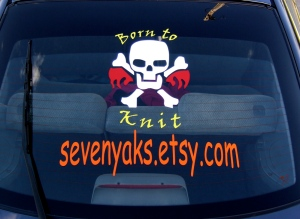 Car window sign for my shop. www.sevenyaks.etsy.com