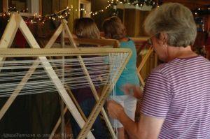Fun weaving at the tri-loom seminar.